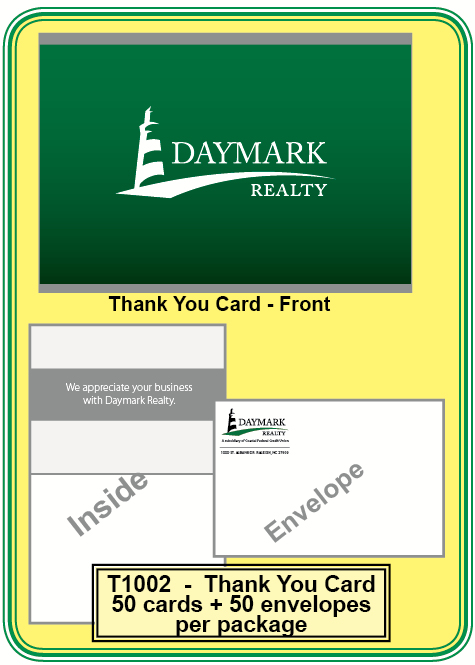 Daymark Thank You Card Envelope B Order By Pack Of 50 Cards